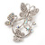Diamante Butterfly Wreath Brooch (Silver Tone Metal)