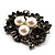 Vintage 'Bouquet of Flowers' Brooch In Burn Silver Metal - view 3