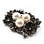 Vintage 'Bouquet of Flowers' Brooch In Burn Silver Metal - view 5
