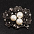 Vintage 'Bouquet of Flowers' Brooch In Burn Silver Metal - view 2