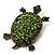 Green Crystal Turtle Brooch (Bronze Tone Metal)