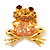 'Smiling Frog' Crystal Brooch (Gold Tone Metal) - view 9