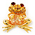 'Smiling Frog' Crystal Brooch (Gold Tone Metal)