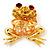 'Smiling Frog' Crystal Brooch (Gold Tone Metal)