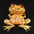 'Smiling Frog' Crystal Brooch (Gold Tone Metal) - view 3