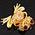 'Smiling Frog' Crystal Brooch (Gold Tone Metal) - view 5