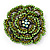 Spectacular Grass Green Dimensional Rose Brooch (Antique Silver Tone)