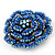 Spectacular Navy Blue Dimensional Rose Brooch (Antique Silver Tone) - view 5