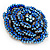 Spectacular Navy Blue Dimensional Rose Brooch (Antique Silver Tone) - view 6