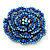 Spectacular Navy Blue Dimensional Rose Brooch (Antique Silver Tone) - view 9