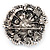 Spectacular Navy Blue Dimensional Rose Brooch (Antique Silver Tone) - view 7