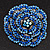 Spectacular Navy Blue Dimensional Rose Brooch (Antique Silver Tone) - view 2