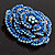 Spectacular Navy Blue Dimensional Rose Brooch (Antique Silver Tone) - view 10