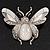 Large Enamel Bug Brooch (White)