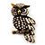 Antique Gold Crystal Owl Brooch