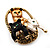 Cute &#039;Kittens In The Basket&#039; Brooch In Gold Plated Metal - view 3