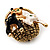 Cute &#039;Kittens In The Basket&#039; Brooch In Gold Plated Metal - view 5