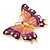 Oversized Deep Purple Enamel Butterfly Brooch (Gold Tone Metal) - view 2