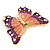 Oversized Deep Purple Enamel Butterfly Brooch (Gold Tone Metal) - view 5