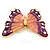 Oversized Deep Purple Enamel Butterfly Brooch (Gold Tone Metal) - view 6
