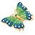 Oversized Teal Green/ Salad Green Enamel Butterfly Brooch (Gold Tone Metal) - 80mm Across - view 2