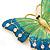 Oversized Teal Green/ Salad Green Enamel Butterfly Brooch (Gold Tone Metal) - 80mm Across - view 3
