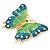Oversized Teal Green/ Salad Green Enamel Butterfly Brooch (Gold Tone Metal) - 80mm Across - view 7