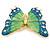 Oversized Teal Green/ Salad Green Enamel Butterfly Brooch (Gold Tone Metal) - 80mm Across - view 5