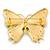 Oversized Teal Green/ Salad Green Enamel Butterfly Brooch (Gold Tone Metal) - 80mm Across - view 4