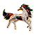 Oversized Diamante Enamel Horse Brooch In Rhodium Plated Metal - view 5