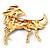 Oversized Diamante Enamel Horse Brooch In Rhodium Plated Metal - view 6