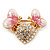 Gold Plated Diamante 'Heart' Brooch - view 2