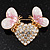 Gold Plated Diamante 'Heart' Brooch