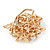 White Faux Imitation Pearl Crystal Scarf Pin/ Brooch In Gold Plated Metal - view 6