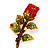 Exquisite Red Swarovski Crystal Rose Brooch (Gold Plated Metal) - 60mm Across - view 8