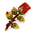 Exquisite Red Swarovski Crystal Rose Brooch (Gold Plated Metal) - 60mm Across - view 7