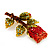 Exquisite Red Swarovski Crystal Rose Brooch (Gold Plated Metal) - 60mm Across - view 9