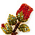 Exquisite Red Swarovski Crystal Rose Brooch (Gold Plated Metal) - 60mm Across - view 10