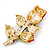 Exquisite Red Swarovski Crystal Rose Brooch (Gold Plated Metal) - 60mm Across - view 6