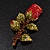 Exquisite Red Swarovski Crystal Rose Brooch (Gold Plated Metal) - 60mm Across - view 2