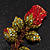Exquisite Red Swarovski Crystal Rose Brooch (Gold Plated Metal) - 60mm Across - view 3