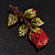 Exquisite Red Swarovski Crystal Rose Brooch (Gold Plated Metal) - 60mm Across - view 5