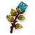 Exquisite Teal Blue Swarovski Crystal Rose Brooch (Gold Plated Metal) - view 8