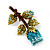 Exquisite Teal Blue Swarovski Crystal Rose Brooch (Gold Plated Metal) - view 9