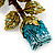 Exquisite Teal Blue Swarovski Crystal Rose Brooch (Gold Plated Metal) - view 4