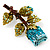 Exquisite Teal Blue Swarovski Crystal Rose Brooch (Gold Plated Metal) - view 5