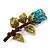 Exquisite Teal Blue Swarovski Crystal Rose Brooch (Gold Plated Metal) - view 10