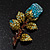 Exquisite Teal Blue Swarovski Crystal Rose Brooch (Gold Plated Metal) - view 2