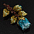 Exquisite Teal Blue Swarovski Crystal Rose Brooch (Gold Plated Metal) - view 6