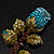 Exquisite Teal Blue Swarovski Crystal Rose Brooch (Gold Plated Metal) - view 3